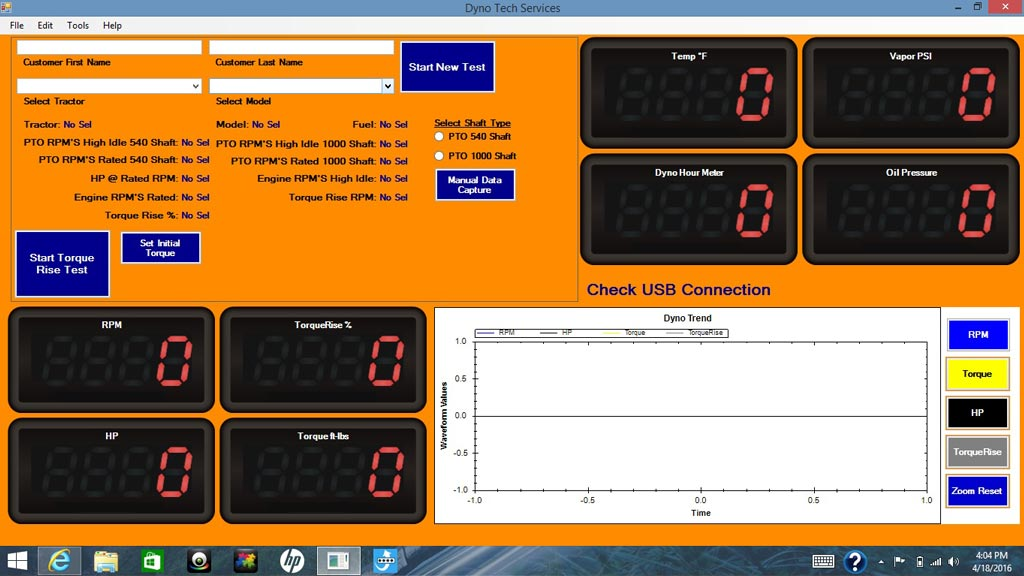 Power Pro 1000 System display - Dynotech pto dynamometer software