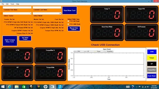 Power Pro 1000 System display - pto dynamometer's software
