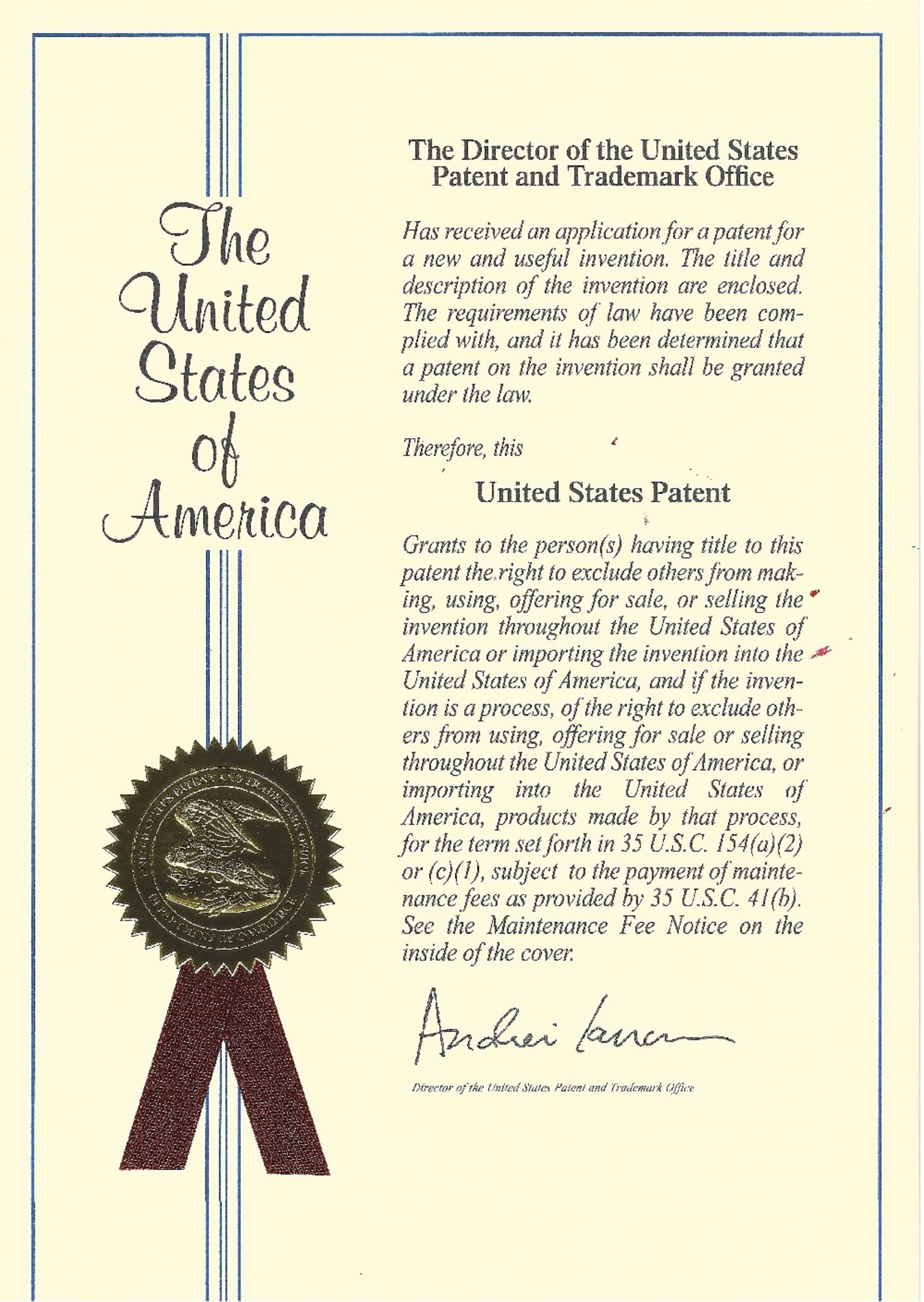 Newly issued official patent for the Dyno Tech Series dynamometers