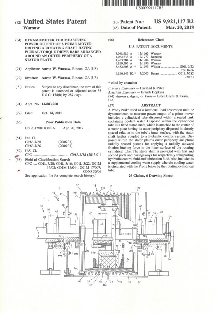 Newly issued Patent #9921117